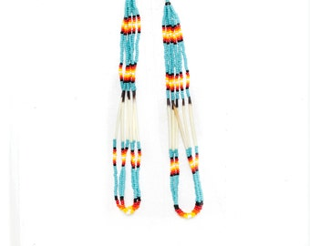 extra long  porcupine quill and seed bead earrings - turquoise blue, black, red, yellow and white beads