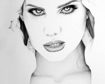 Lana del Rey Minimalism Original Pencil Drawing Fine Art Portrait