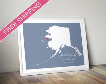 Custom Location and Map Print - Alaska - Personalized Wedding Guest Print, Wedding Gift, Engagement Gift, or Housewarming Gift