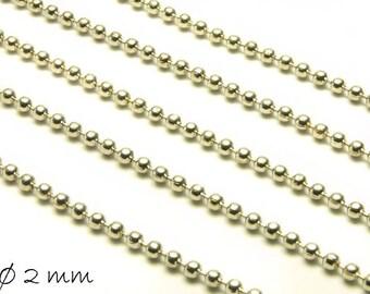 Ball chain platinum silver, fine, 2 mm balls