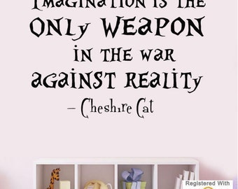 Imagination Reality Cheshire Cat Alice Wonderland Wall Art Stickers Decals Vinyl[Medium,Black]