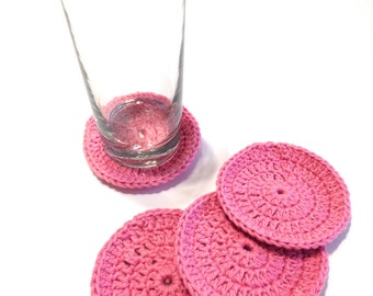 Rose Pink Round Crocheted Coasters- Set Of Four