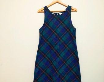Vintage 90s Navy Plaid Jumper Dress / Shift Dress / Tartan Mini Dress