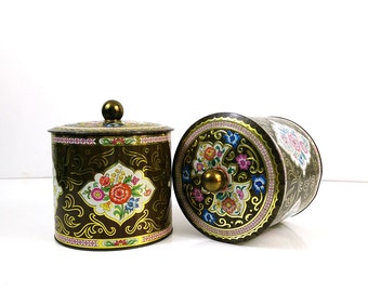 Large Faux bois Daher tin - brightly colored repousse containter