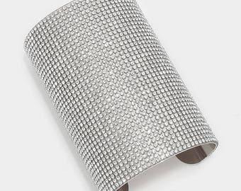 Wide Rhinestone Crystal Cuff Bracelet