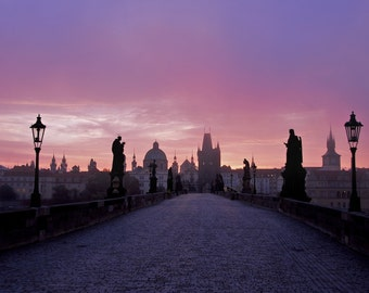 Sunrise - Charles Bridge - Karlův most - Prague - Praha - Czech Republic - Photo - Print
