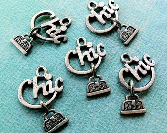 Purse Charms -5 pieces-(Antique Pewter Silver Finish)--style 603--Free combined shipping
