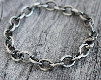 Mens Large Link Cable Chain Bracelet, Men's Sterling Silver Chain Bracelet