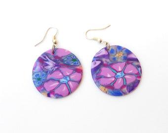 Drop earrings, Dangle earrings, Handmade earrings , Round earrings, Blue & Violet, Millefiori star flower veneer, Polymer Clay