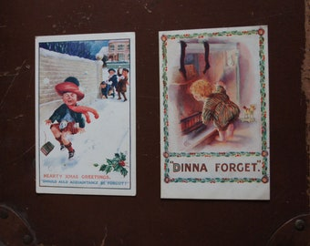 Two, Vintage, Christmas, Postcards, Dinna Forget, Hearty Christmas Greetings, Scottish, Auld Lang Syne, Comedy, Greetings Card, Collectible