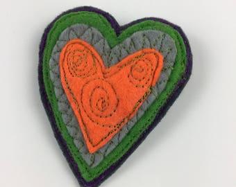 Freemotion embroidered heart,felt heart brooch,appliqué brooch,heart brooch