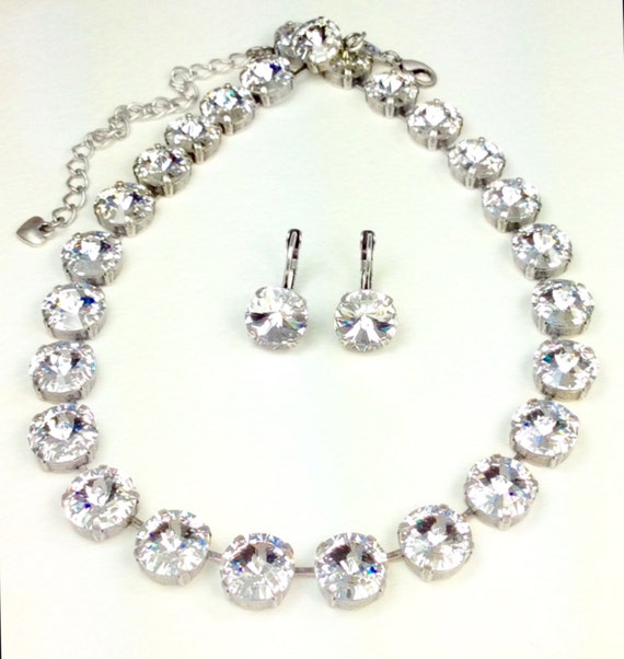 Swarovski Crystal 12MM Necklace - Designer Inspired - Any Swarovski Color Listed - Your Favorite Color and Finish - SALE - FREE SHIPPING