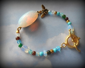 Opalite Bracelet Anklet, Turquoise, Agate, Gold Toggle Bohemian Casual Hippy Style - The Wanderer