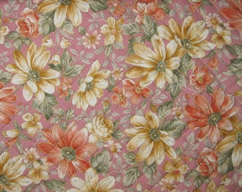 Pre Quilted Fabric Half Meter Cut Floral Design Dusty Pink