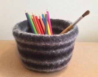Grey felted bowl