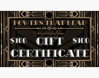 100 DOLLAR GIFT CERTIFICATE - PowersThatBead