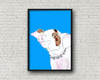 Pig - Piglet - Pink Pig - Blue Pig - Cute Pig - PRINT