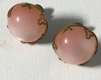 Vintage Moon Glow Moonstone Style Gold Tone Screwback Earrings
