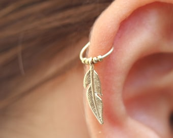 Gold Feather Cartilage Tiny Hoop Earring