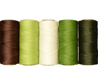 Macrame Cord - Waxed Polyester - Macrame Thread - Linhasita - Waxed Polyester - Crochet Thread - Chocolate Pistachio
