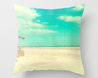 Nostalgic Beach Print Throw Pillow with Inert // Beach Theme Bedroom Decor // Beach Cottage Decor // Turquoise, Blue, Yellow, Throw Pillows