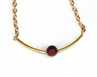Tigers Eye necklace, red tigers eye, gemstone necklace, choker necklace, gold jewelry, gifts for her, birthday gift, gemstone jewelry