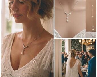 Back Drop Bridal Necklace, Pearl Crystal Wedding Necklace, Wedding Backdrop Necklace, Simple Back Necklace, Wedding Jewelry, Leila