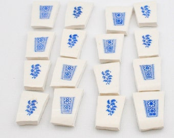 Broken China Mosaic Tile Supply - Blue and White Flower Border - Recycled Plates - Set of 16