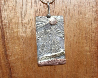 Beautiful Landscape Etched Designer Pendant in Sterling Silver (122917-003)