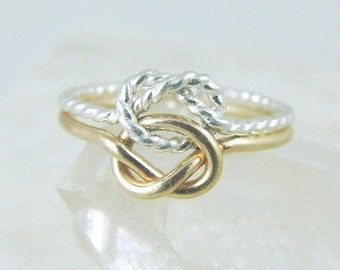 14k Solid Gold and Sterling Silver Love Knot Ring / Infinity Knot Ring / Wedding Ring /  Best Friend Sisters Ring / Gold Celtic Knot Ring