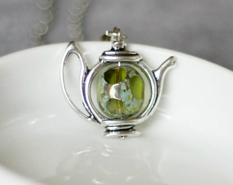 Teapot Necklace, Green Teapot Necklace, Tea Necklace, Teapot Jewelry,Gift For Tea Lovers, Green Tea,Silver Necklace,Tea Pot,Tea Jewelry