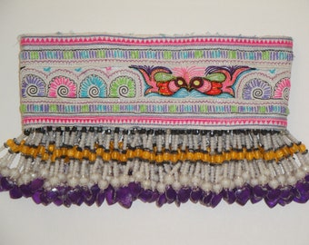 Vintage Hmong Textile - Long Beads Strap - Hand made Embroidered - Bohemian - Hill Tribe - Ship From U.S.A.