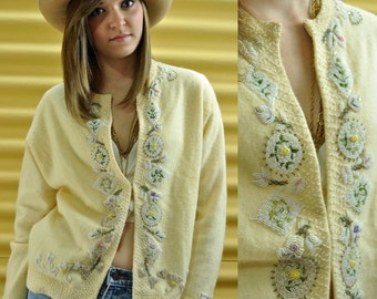 50s BEADED cardigan SWEATER - vintage cardigan of angora & wool beaded sweater w/ intricate floral beadwork XS/S/M
