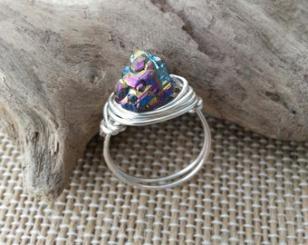 Rainbow citrine, wire wrapped ring, handmade ring, boho