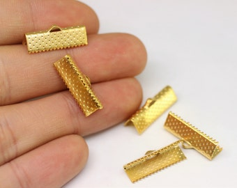 Gold Plated Ribbon Crimp Ends, 20 mm Cord end tip crimp- Jewelry Making Clasp - Ribbon claps