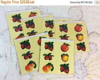 SUMMER SALE 6 Sheets of 1989 Dennison Fruit Stickers Seals Retro Collectible Scrap Booking Paper Ephemera