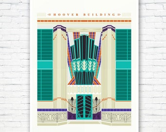 The Hoover Building Poster - Art Deco London Illustrated art print - Matte and Giclee Art Prints. Gifts for Londoners - London Prints