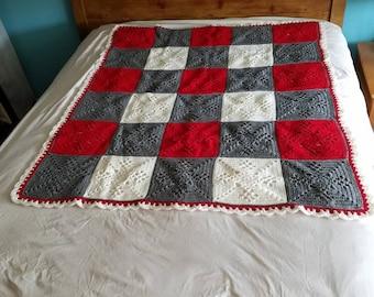 Crochet granny square pattern afghan