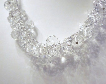 Princess Crystal Cluster Necklace --Clear Crystal Rondelles - Chunky, Choker, Bib, Bridal, Wedding, Prom, Formals and Fun