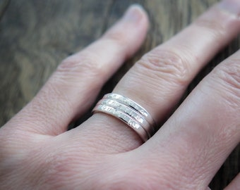 Stacking Rings - Skinny Sterling Silver Personalized Rings - Custom Hand Stamped Jewelry by Betsy Farmer Designs