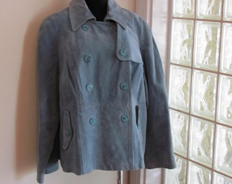 1970s Vintage baby Blue Suede Double Breasted Jacket