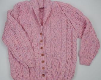 Ladies Shawl Collar Cardigan - Pink Tweed