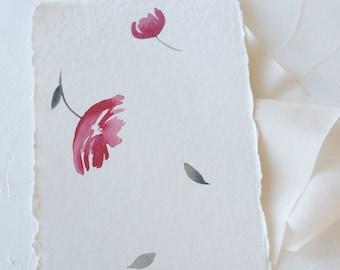 falling flowers-pink flower watercolor print-watercolor floral print-watercolor-handmade paper-botanical print-fine art print- FREE SHIPPING