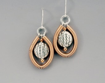 One of a Kind, Cool Earrings, Mothers Day Jewelry, Mixed Metal Earrings, Copper Jewelry, Jewelry for Mom, Sterling Silver Earrings