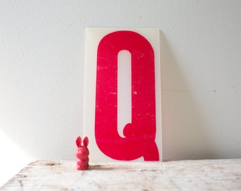 Vintage Letter Q - Red Marquee Plastic Letter Q Vintage Marquee Letter Q Vintage Sign