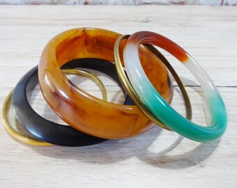 Vintage Set of 5 Bangles / Metal wood lucite glass Bangles / Boho Chic/ Jewellery Bangle jewelry
