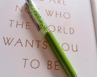 Green crystal pen, bling pen , planner accessories, school supplies, office supplies