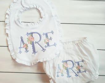 Floral Monogam Bloomer Set - Monogram Bloomer Set - Embroidered Bloomer - Monogammed Bib - Baby Shower Gift - Floral Bloomers - Heirloom