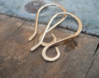 Wisp 14kt Yellow or Rose Goldfill Earwires - Handmade. Handforged