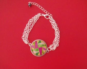 SALE green fuchsia glass cabochon silver plated chain bracelet